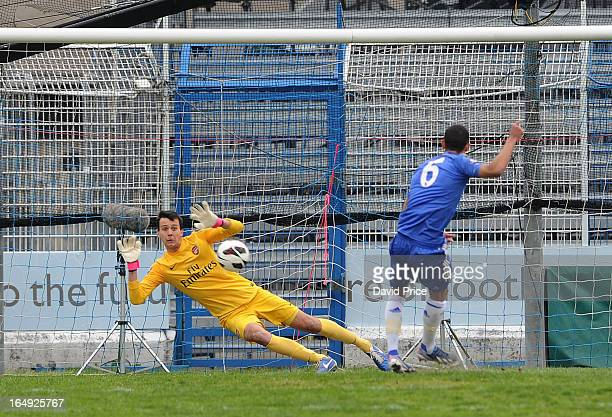 Dejan Iliev of Arsenal saves Lewis Baker's penalty for Chelsea during the NextGen Series Semi Final match between Arsenal and Chelsea at Stadio...