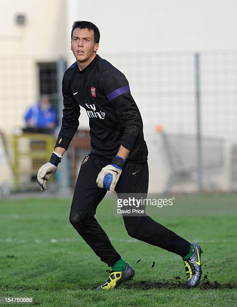 Dejan Iliev of Arsenal warms up before the NextGen Series match between Olympic Marseille U19 and Arsenal U19 on October 25 2012 in Marseille France