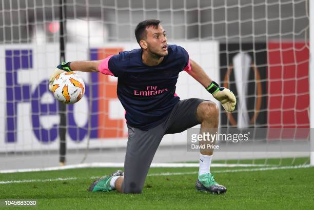 Dejan Iliev of Arsenal warms up before the UEFA Europa League Group E match between Qarabag FK and Arsenal at on October 4 2018 in Baku Azerbaijan