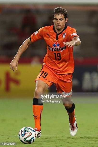 Dejan Jakovic of Shimizu SPulse in action during the JLeague match between Shimizu SPulse and Kashima Antlers at IAI Stadium Nihondaira on August 23...