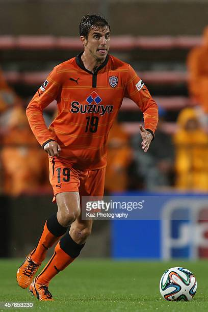 Dejan Jakovic of Shimizu SPulse in action during the JLeague match between Shimizu SPulse and Albirex Niigata at IAI Stadium Nihondaira on October 22...