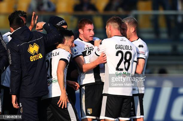 Dejan Kulusevki of Parma FC celebrates after scoring a goal during the Serie A match between Parma Calcio and Udinese Calcio at Stadio Ennio Tardini...