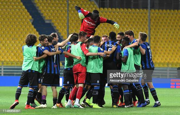 Dejan Kulusevski of Atalanta celebrates after scoring his team second goal during the Serie A Primavera Playoffs Torino FC and Atalanta BC at Stadio...