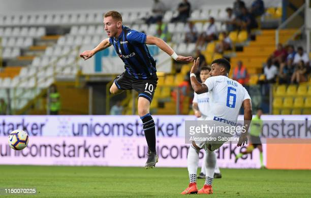 Dejan Kulusevski of Atalanta jump for the ball during the Serie A Primavera Playoff Final match between FC Internazionale and Atalanta BC at Stadio...
