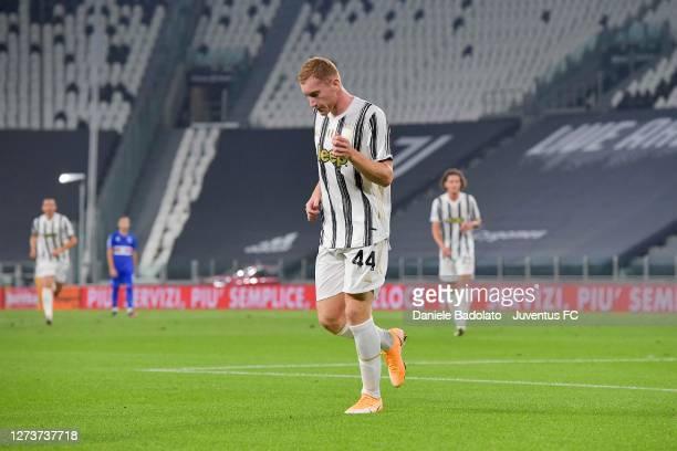 Dejan Kulusevski of Juventus celebrates after scoring his team's first goal during the Serie A match between Juventus and UC Sampdoria at on...