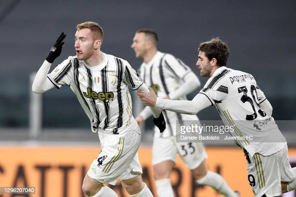 Dejan Kulusevski of Juventus celebrates after scoring his team's first goal with teammamte Manolo Portanova during the Coppa Italia match between...
