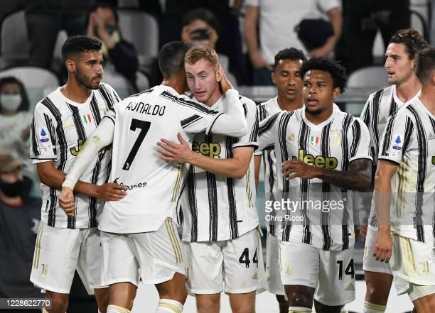 Dejan Kulusevski of Juventus celebrates goal with teammates during the Serie A match between Juventus and UC Sampdoria at Allianz Stadium on...