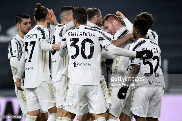 Dejan Kulusevski of Juventus celebrates his 1-0 opening goal with his teammates during the Coppa Italia match between Juventus and Genoa CFC at...