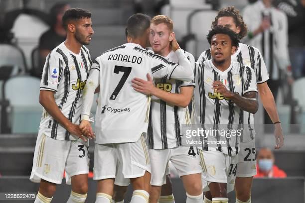 Dejan Kulusevski of Juventus celebrates the opening goal with team mates during the Serie A match between Juventus and UC Sampdoria at Allianz...