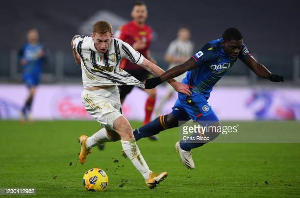 Dejan Kulusevski of Juventus challenged by Jean-Victor Makengo of Udinese during the Serie A match between Juventus and Udinese Calcio at Allianz...