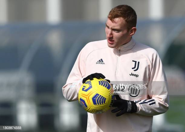 Dejan Kulusevski of Juventus FC looks on during a Juventus FC training session at JTC on February 24, 2021 in Turin, Italy.