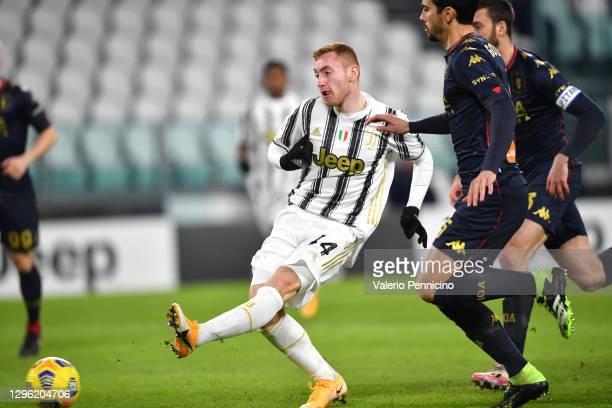 Dejan Kulusevski of Juventus F.C. Scores their team's first goal during the Coppa Italia match between Juventus and Genoa CFC at Allianz Stadium on...