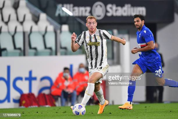 Dejan Kulusevski of Juventus in action against Mehdi Leris of UC Sampdoria during the Serie A match between Juventus and UC Sampdoria at Allianz...
