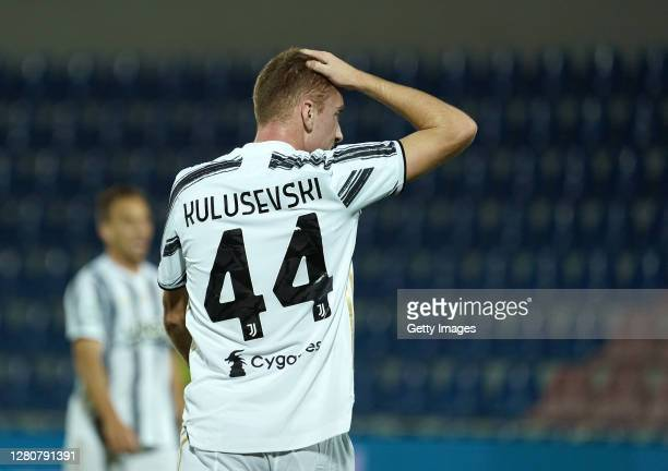 Dejan Kulusevski of Juventus reacts during the Serie A match between FC Crotone and Juventus at Stadio Comunale Ezio Scida on October 17, 2020 in...