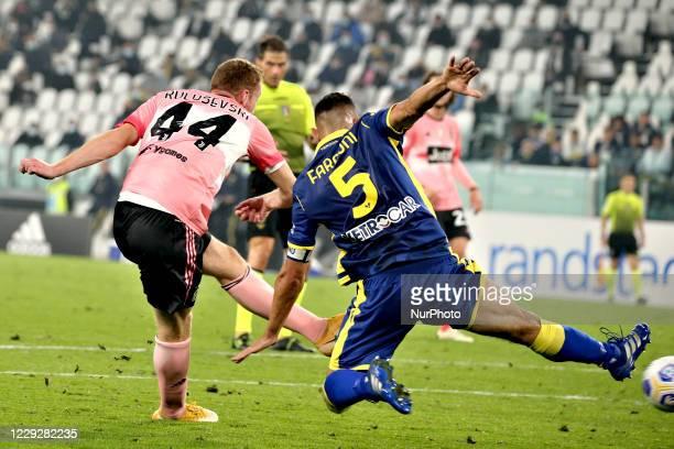 Dejan Kulusevski of Juventus scores his goal during the Serie A match between Juventus and Hellas Verona FC at Allianz Stadium on October 25, 2020 in...