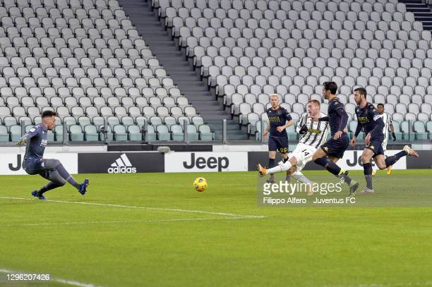 Dejan Kulusevski of Juventus scores his team's first goal during the Coppa Italia match between Juventus and Genoa CFC at Allianz Stadium on January...