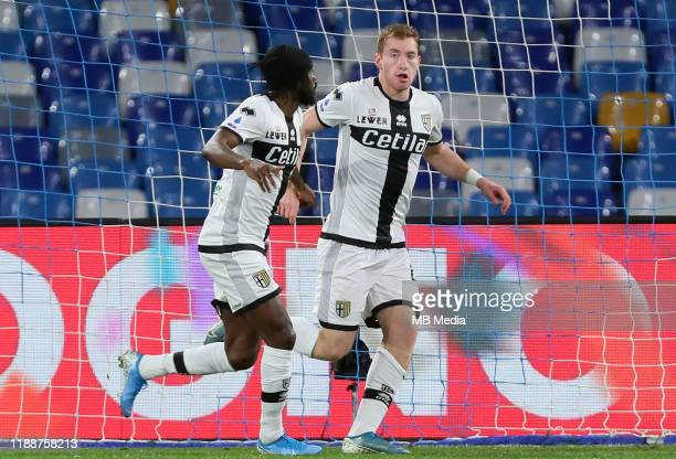 Dejan Kulusevski of Parma Calcio celebrates after his goal with teammate Gervinho during the Serie A match between SSC Napoli and Parma Calcio at...