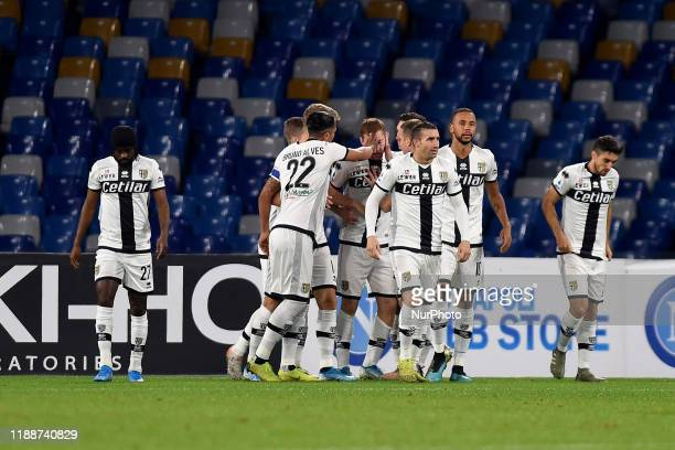 Dejan Kulusevski of Parma Calcio celebrates after scoring during the Serie A match between SSC Napoli and Parma Calcio at Stadio San Paolo Naples...