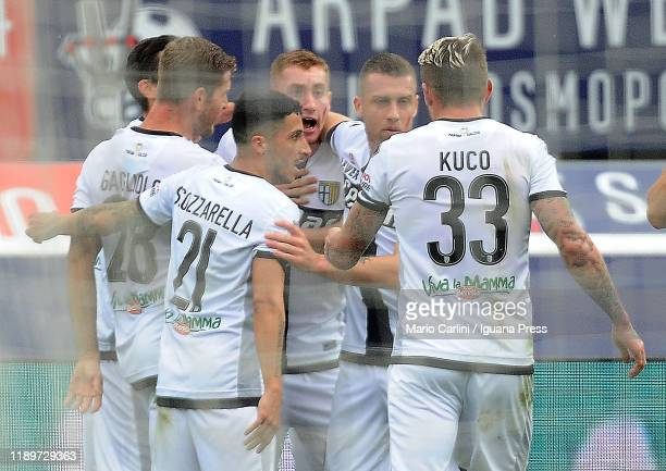 Dejan Kulusevski of Parma Calcio celebrates after scoring the opening goal during the Serie A match between Bologna FC and Parma Calcio at Stadio...