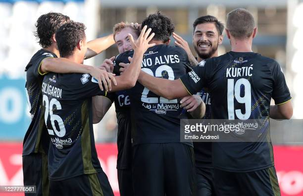 Dejan Kulusevski of Parma Calcio celebrates after scoring the second goal of his team with teammates during the Serie A match between Brescia Calcio...