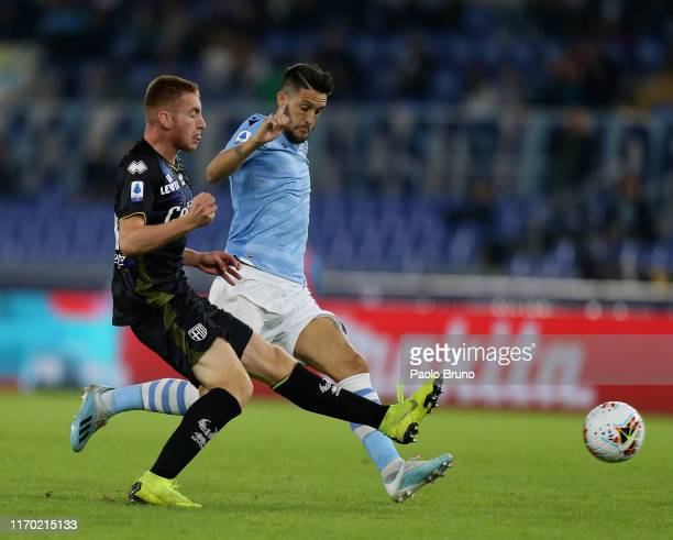 Dejan Kulusevski of Parma Calcio competes for the ball with Luis Alberto of SS Lazio during the Serie A match between SS Lazio and Parma Calcio at...