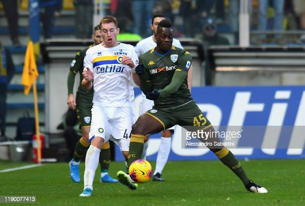 Dejan Kulusevski of Parma Calcio competes for the ball with Mario Balotelli of Brescia Calcio during the Serie A match between Parma Calcio and...