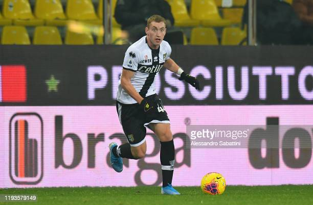 Dejan Kulusevski of Parma Calcio controls the ball during the Serie A match between Parma Calcio and US Lecce at Stadio Ennio Tardini on January 13...
