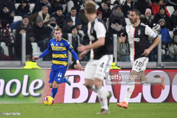 Dejan Kulusevski of Parma Calcio controls the ball during the Serie A match between Juventus and Parma Calcio at Allianz Stadium on January 19 2020...
