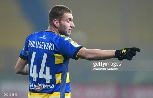 Dejan Kulusevski of Parma Calcio gestures during the Coppa Italia match between Parma Calcio and AS Roma at Ennio Tardini on January 16 2020 in Parma...