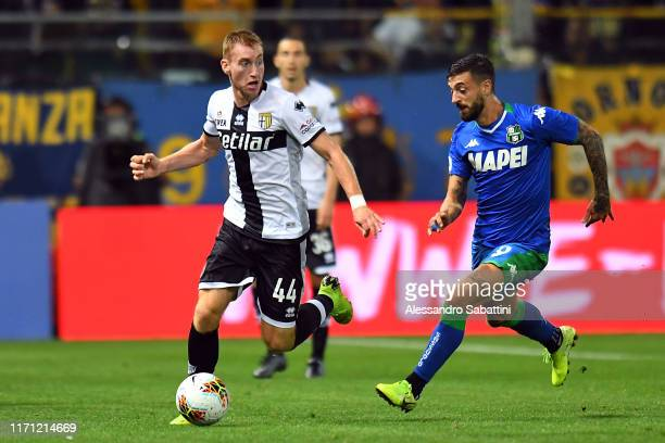 Dejan Kulusevski of Parma Calcio in action during the Serie A match between Parma Calcio and US Sassuolo at Stadio Ennio Tardini on September 25 2019...