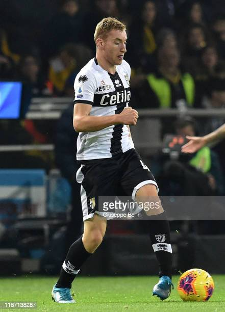 Dejan Kulusevski of Parma Calcio in action during the Serie A match between Parma Calcio and AS Roma at Stadio Ennio Tardini on November 10 2019 in...
