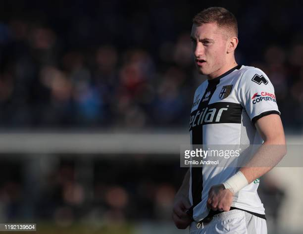 Dejan Kulusevski of Parma Calcio looks on during the Serie A match between Atalanta BC and Parma Calcio at Gewiss Stadium on January 6 2020 in...