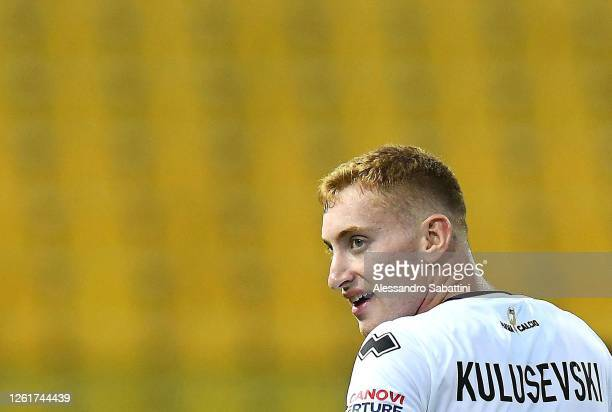 Dejan Kulusevski of Parma Calcio looks on during the Serie A match between Parma Calcio and Atalanta BC at Stadio Ennio Tardini on July 28, 2020 in...