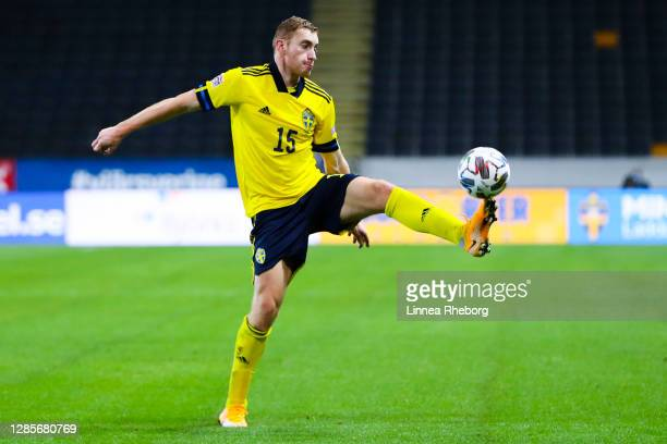 Dejan Kulusevski of Sweden controls the ball during the UEFA Nations League group stage match between Sweden and Croatia at Friends Arena on November...