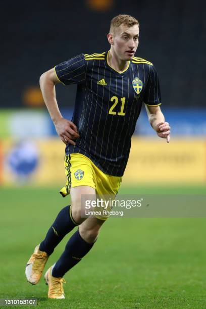Dejan Kulusevski of Sweden in action during the International Friendly match between Sweden and Estonia at Friends Arena on March 31, 2021 in...