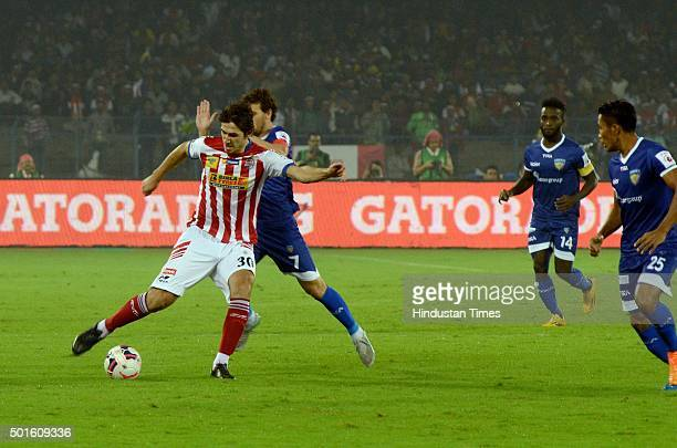 Dejan Leki of Atletico de Kolkata vying for the ball with the players of Chennaiyin FC during their ISL semifinal second leg match at Yuva Bharati...