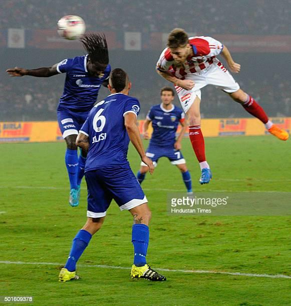 Dejan Lekic of Atletico de Kolkata and Chennaiyin FC players in action during their ISL semifinal second leg match at Yuva Bharati Krirangan on...