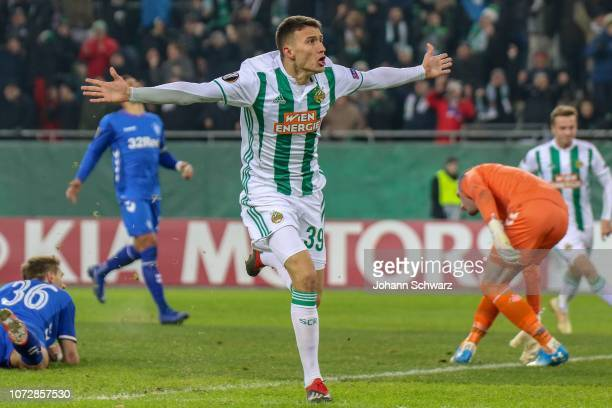 Dejan Ljubicic of Rapid celebrates after scoring a goal during the UEFA Europa League match between Rapid Wien and Rangers at Weststadion on December...