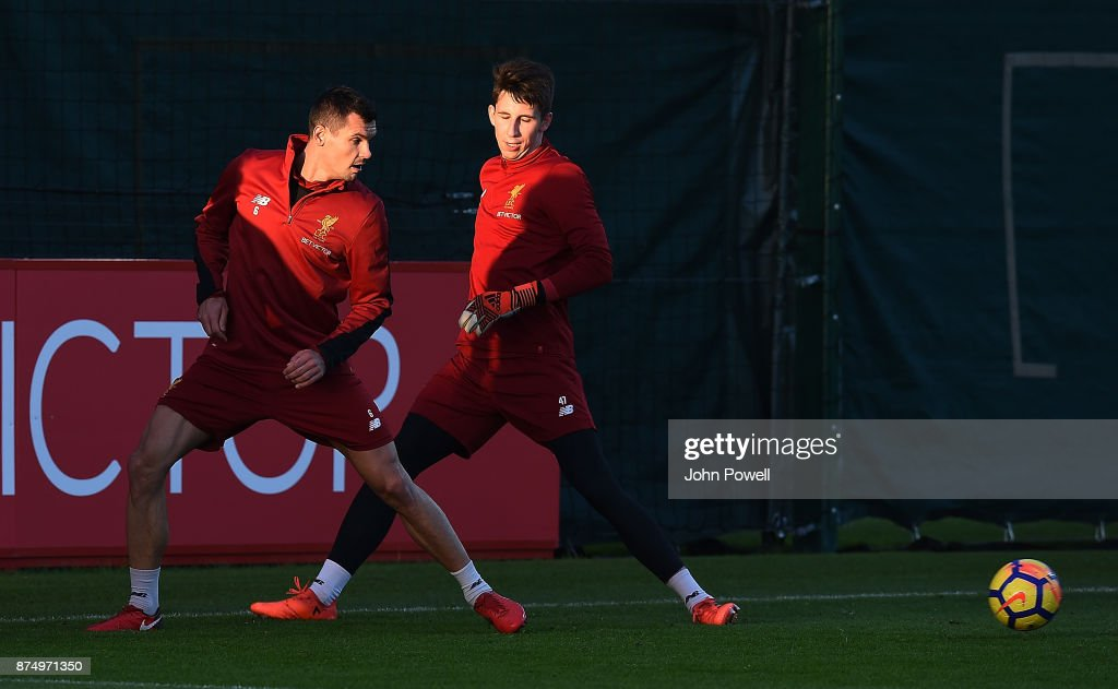Dejan Lovren and Kamil Grabara of Liverpool during a training session at Melwood Training Ground on November 16, 2017 in Liverpool, England.