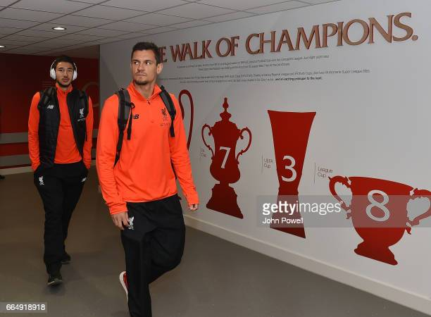 Dejan Lovren and Marko Grujic of Liverpool arrives before the Premier League match between Liverpool and AFC Bournemouth at Anfield on April 5 2017...