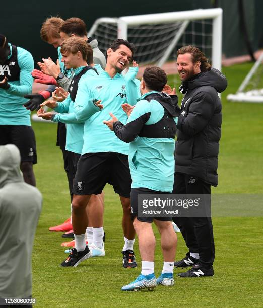 Dejan Lovren and Xherdan Shaqiri of Liverpool during a training session at Melwood Training Ground on June 28 2020 in Liverpool England