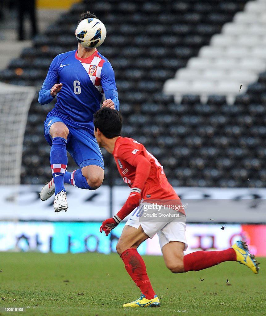 Dejan Lovren Croatia attacks the ball in the air during the International Friendly match between Croatia and Korea Republic at Craven Cottage on February 6, 2013 in London, England.