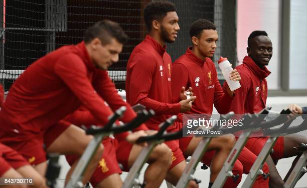 Dejan Lovren Mohamed Salah Joe Gomez Trent AlexanderArnold and Sadio Mane of Liverpool during a training session at Melwood Training Ground on...