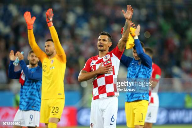 Dejan Lovren of Croatia acknowledges the fans following the 2018 FIFA World Cup Russia group D match between Croatia and Nigeria at Kaliningrad...