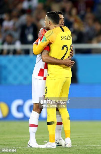Dejan Lovren of Croatia and Danijel Subasic of Croatia celebrate together following their sides victory in the 2018 FIFA World Cup Russia group D...