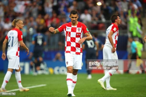 Dejan Lovren of Croatia and his teammates react after Mario Mandzukic of Croatia scored an own goal to make it 10 during the 2018 FIFA World Cup...