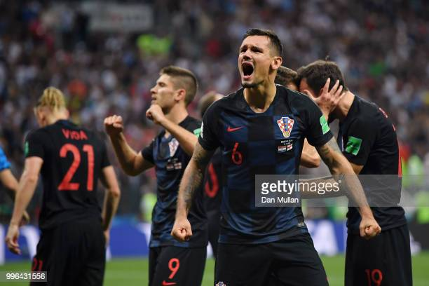 Dejan Lovren of Croatia celebrates following his sides victory in the 2018 FIFA World Cup Russia Semi Final match between England and Croatia at...