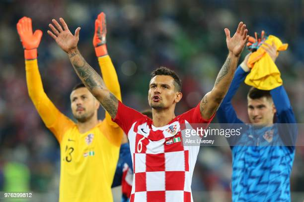 Dejan Lovren of Croatia celebrates with fans following his sides victory in the 2018 FIFA World Cup Russia group D match between Croatia and Nigeria...