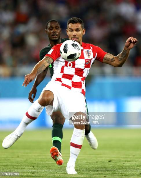 Dejan Lovren of Croatia clears the ball during the 2018 FIFA World Cup Russia group D match between Croatia and Nigeria at Kaliningrad Stadium on...