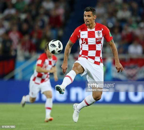 Dejan Lovren of Croatia controls the ball during the 2018 FIFA World Cup Russia group D match between Croatia and Nigeria at Kaliningrad Stadium on...